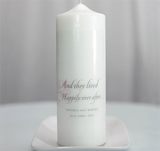 Happily Ever After Personalized Wedding Pillar Unity Candle in White