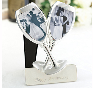 Happy Wedding Anniversary Toasting Picture Frame