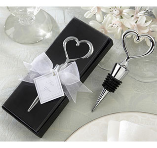 Chrome Open Heart Silver Wedding Wine Bottle Stopper