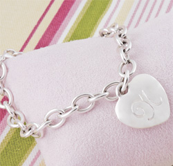 Personalized Silver Heavy Weight Heart Charm Bracelet
