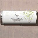 Heart Filigree Personalized Wedding Chocolate Bar Wedding Favor inWhite and Lavender Purple, Dark Pink, Black and White, Peach/Orange, Periwinkle Blue, Aqua Blue, Light Green, Ruby Red/Purple, Brown,