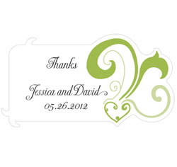 Heart Filigree Personalized Diecut Wedding Favor Stickers in Lime Green