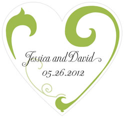 Heart Filigree Personalized Heart Wedding Favor Sticker in  Green