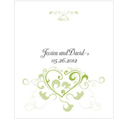 Heart Filigree Personalized Rectangular Wedding Label in Green
