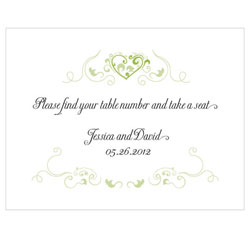 Heart Filigree Personalized Wedding Note Card in Grass Green