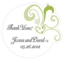 Heart Filigree Personalized Wedding Favor Sticker in Green