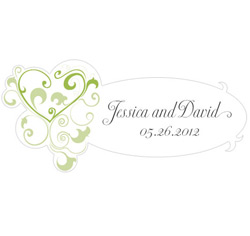 Heart Filigree Personalized Wedding Window Cling in Green
