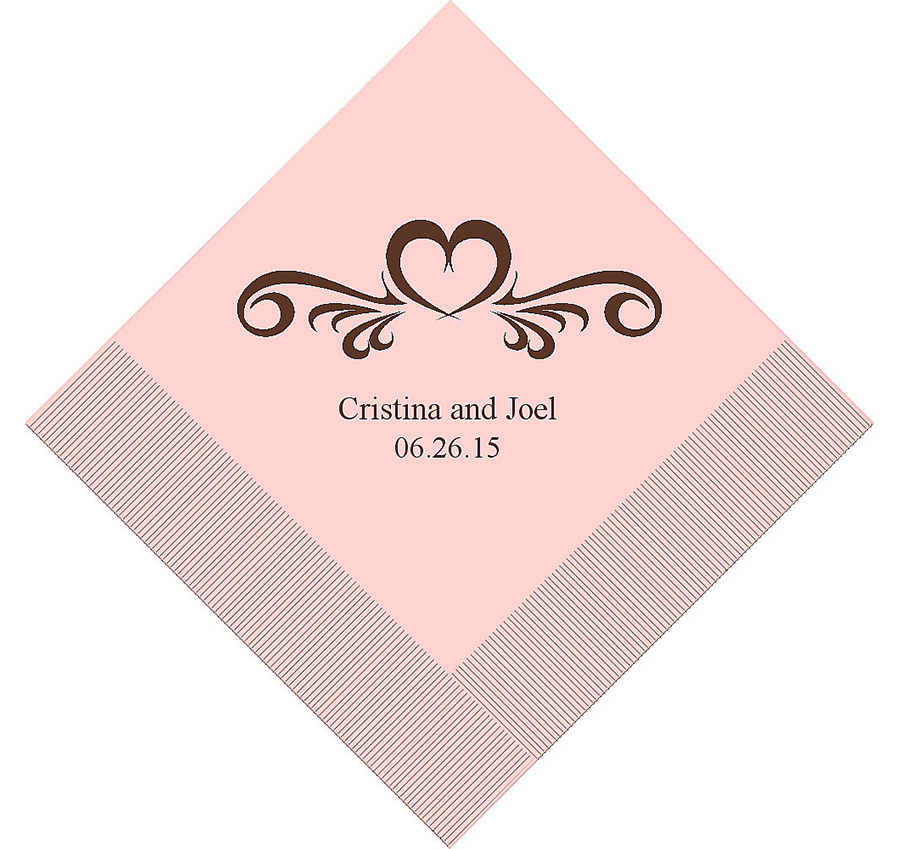 Heart swirl personalized napkins personalized wedding for Printed wedding napkins