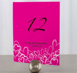 Hearts Personalized wedding Table Numbers in Fuchsia Pink