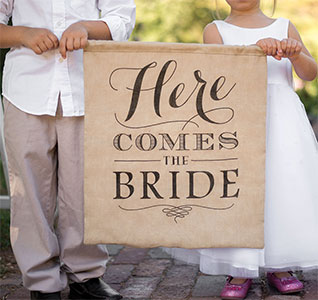 Burlap Here Comes The Bride Banner