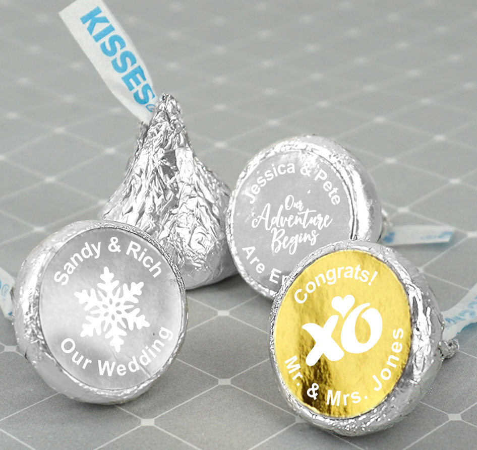Metallic Hershey\'s Kisses Favors | Hershey\'s Kisses Monogram Favors
