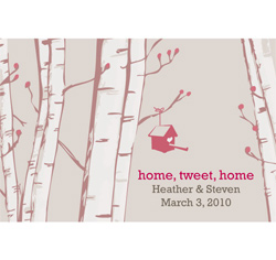 Home Tweet Home Personalized Wedding Favor Cards