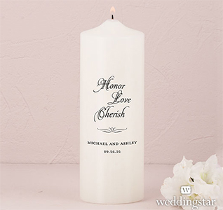 Honor, Love and Cherish Personalized Wedding Pillar Unity Candle in White or Ivory