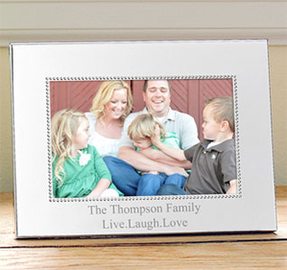 Horizontal Beaded Silver Picture Frame