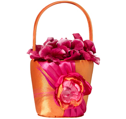 Hot Pink and Orange Wedding Flower Girl Basket