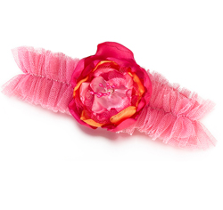 Hot Pink and Orange Bridal Garter