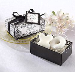 Hugs and Kisses for Mr. and Mrs. Bride and Groom Scented Soaps Black and White Wedding Favors
