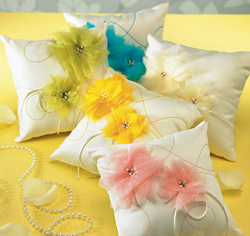 I Do..Color Wedding Ring Bearer Pillow in White with Blue, Green, Yellow, Ivory, Pink