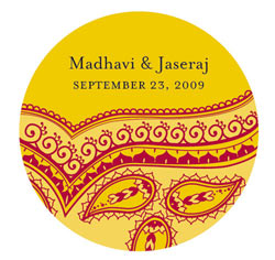 Gold, Red and Yellow Personalized Indian Theme Mini Wedding Favor Stickers