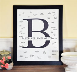 Initial Wedding Guest Canvas Signature Frame