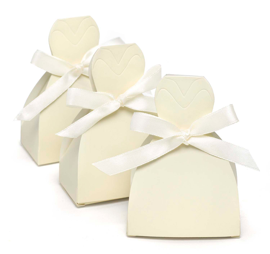 ivory gown favor boxes ivory favor boxes favor boxes