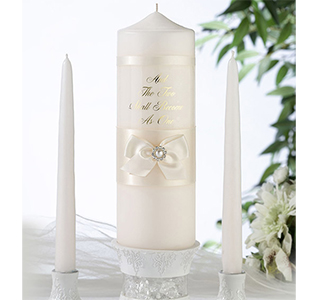 Ivory Wedding Unity Candle and Tappers Set
