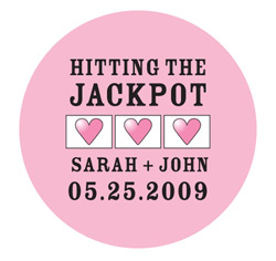 Pink and Black Personalized Jackpot Mini Wedding Favor Stickers