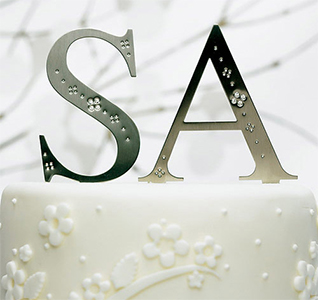 S and A Jeweled Monogram Silver Wedding Cake Top Letters