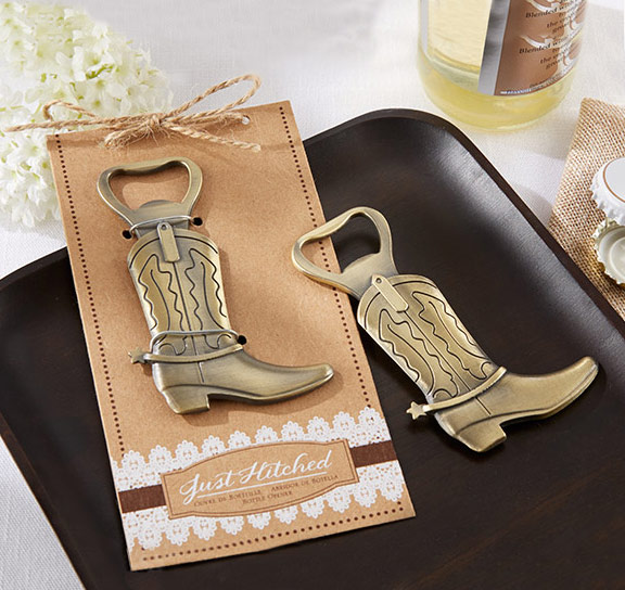 Just Hitched Cowboy Boot Bottle Opener Favor