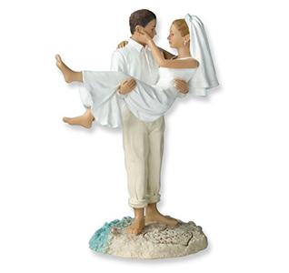 Just Married Beach Couple Cake Top Figurine