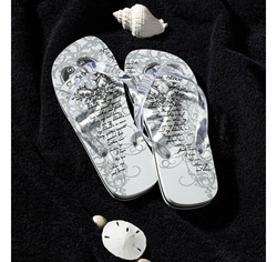 Beach Honeymoon Just Married Bride Flip-Flops
