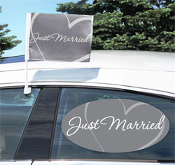 Just Married Car Flag & Window Cling Set