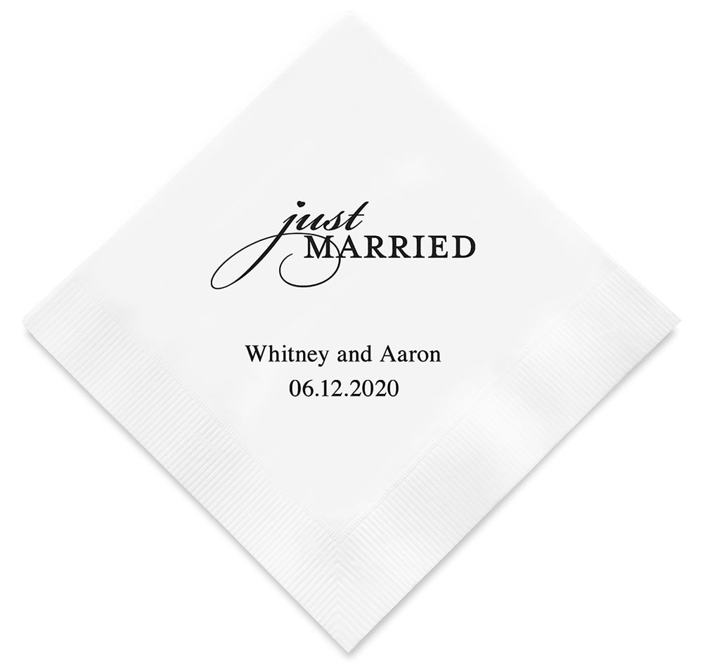 Just Married Personalized Wedding Napkins | Personalized Napkins