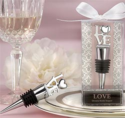 LOVE Chrome Silver Wedding Wine Bottle Stopper