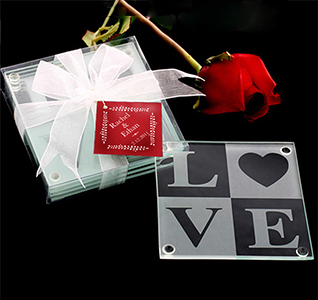 LOVE Glass Coaster Wedding Favor Gift Set