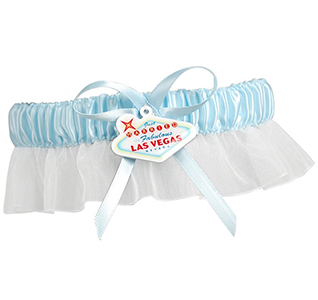 Las Vegas Something Blue and White Wedding Bridal/ Bride Garter