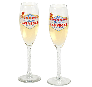 Las Vegas Wedding Toasting Glasses for Bride and Groom