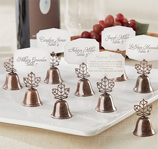 fall wedding place card holders. fall leaf kissing wedding bell place card holders i