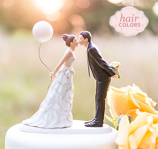 Balloon Kiss Bride Groom Cake Topper
