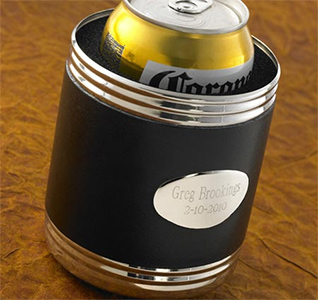 Black Leather Wrapped Personalized Can Holder