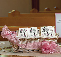 Light-Hearted Wedding Favor Tissue Handkerchiefs with Bride and Groom in Black and White
