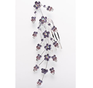 Lilac Jeweled Wedding Hair Comb