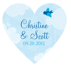 A Little Bird Told Me Personalized Heart Wedding Favor Sticker