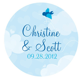 A Little Bird Told Me Small Personalized Wedding Favor Sticker