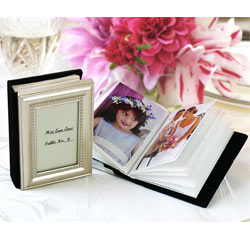Silver Little Book of Memories Wedding Placecard Holders and Picture Album Favors