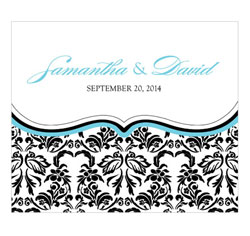 Love Bird Damask Personalized Rectangular Wedding Label in Aqua Blue