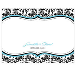 Love Bird Damask Personalized Wedding Note Card in Aqua Blue