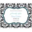 Love Bird Damask Personalized Wedding Save The Date Invitation Cards in Black and White with Aqua Blue