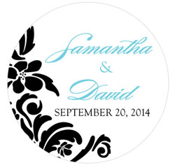 Love Bird Damask Personalized Small Wedding Favor Sticker in Aqua Blue