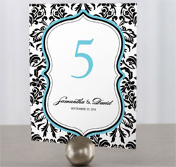 Love Bird Damask Black and White Personalized Wedding Table Numbers with Aqua Blue